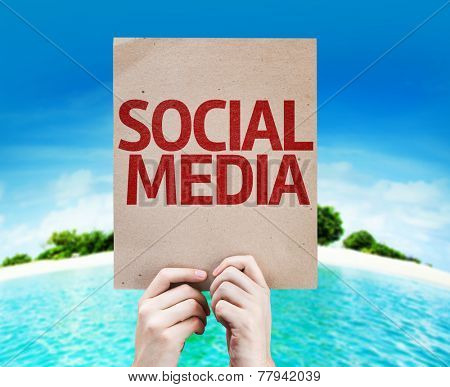 Social Media card with a beach on background