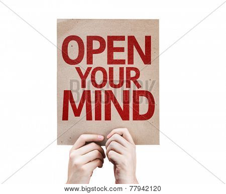 Open Your Mind card isolated on white background