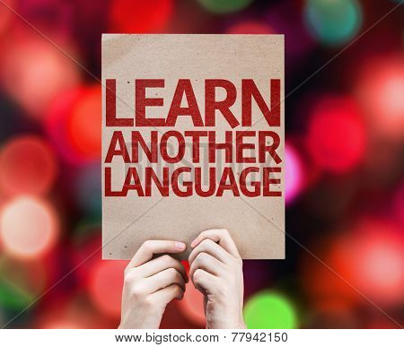 Learn Another Language card with colorful background with defocused lights