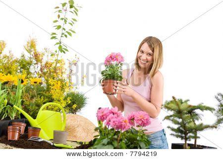 garten-ringelblume happy Woman holding Blumentopf