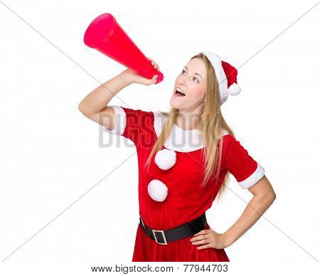 Christmas woman yell with shout megaphone