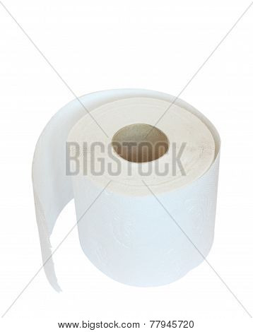 Roll Of White Multilayered Toilet Paper  Isolated On White
