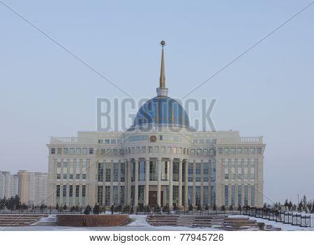 Presidential Palace Ak Horda During Winter Evenings.