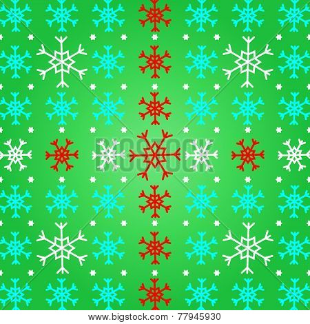 Create Snowflake On Green Pattern Background
