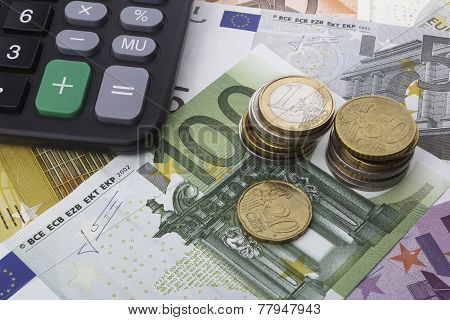 Euros (eur) And A Calculator. Business Concept.