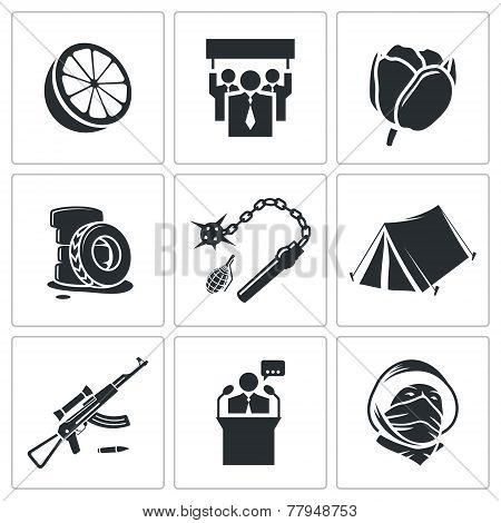 Orange Revolution Vector Icons Set