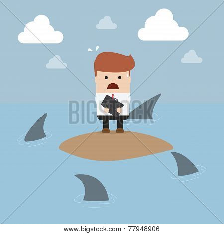 Businessman Stranded In An Island Surrounded By Sharks