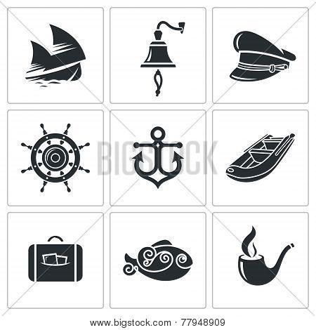 Sea Tourism Vector Icons Set
