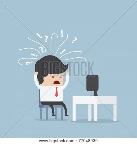 Confused Businessman In Front Of Computer