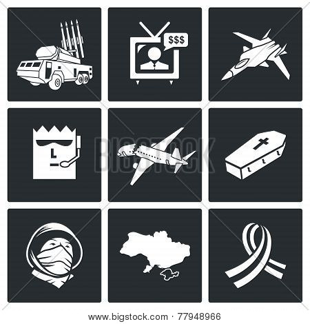 Plane Crash Vector Icons Set