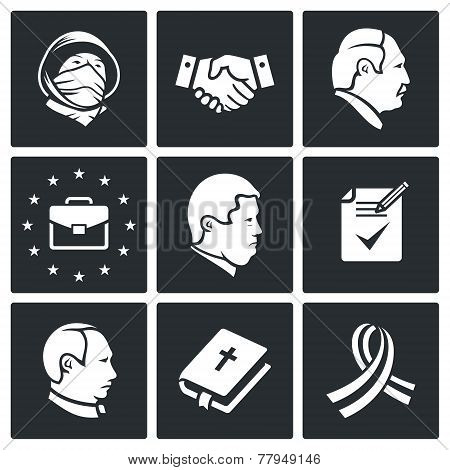 Minsk Agreement Vector Icons Set