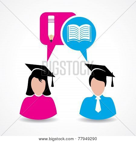 Male and female students thinking about education concept stock vector