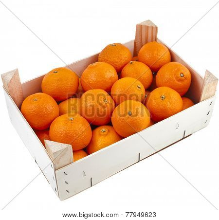 orange mandarins in wooden crate box isolated on white