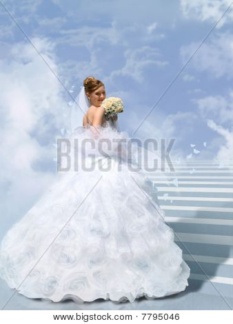 Bride On Stair To Cloud Collage