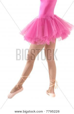 Unrecognizable Female Dancer Body With Tutu Isolated On White Background