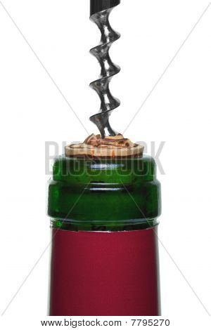 Red Wine Bottle Cork And Corkscrew Close Up