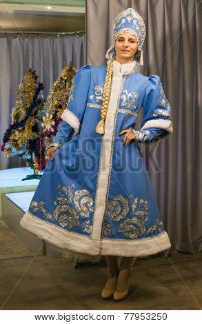 Girl In Beautiful Suit Of Snow Maiden
