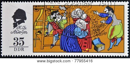 GERMANY - CIRCA 1975: A stamp printed in Germany shows The Emperor's New Clothes scene