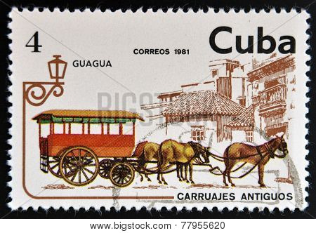 CUBA - CIRCA 1981: A stamp printed in Cuba dedicated to antique carriages shows Guagua circa 1981