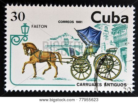 CUBA - CIRCA 1981: A stamp printed in Cuba dedicated to antique carriages shows Faeton circa 1981