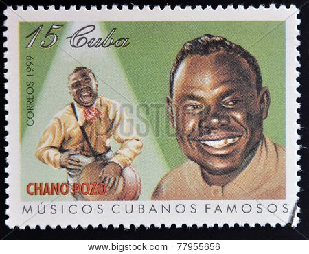 CUBA - CIRCA 1999: A stamp printed in cuba dedicated to famous Cuban musicians shows Chano Pozo