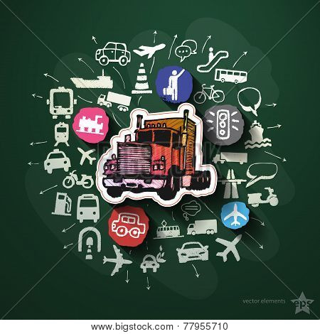 Transportation collage with icons on blackboard