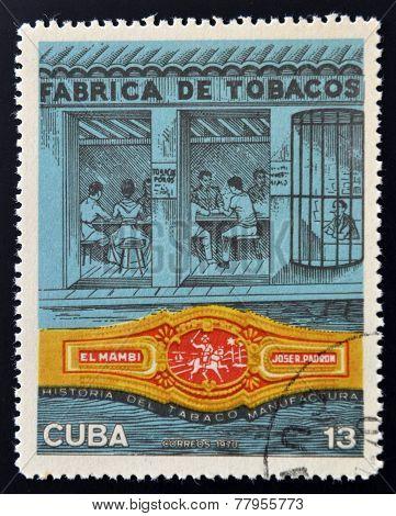 CUBA - CIRCA 1970: A stamp printed in Cuba shows tobacco factory circa 1970