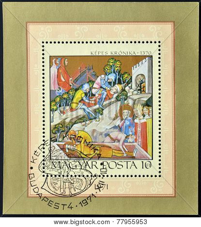 HUNGARY - CIRCA 1971: A stamp printed in Hungary shows Bazarad's Victory over King Karoly I