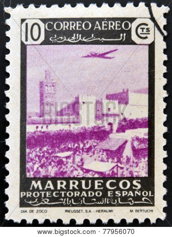 MOROCCO - CIRCA 1940: A stamp printed in Morocco shows the Souks Marrakesh Morocco circa 1940