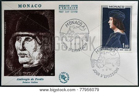 MONACO - CIRCA 1967: A stamp printed in Monaco shows Lucien Lord of Monaco by Ambrogio de Predis
