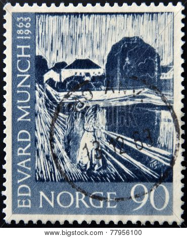 NORWAY - CIRCA 1963: A stamp printed in Norway shows Painting Three girls on the Bridge