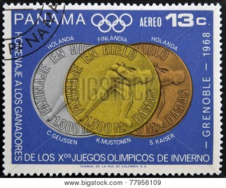 Stamp printed in Panama tribute to the winners of the Olympic Winter Games Grenoble
