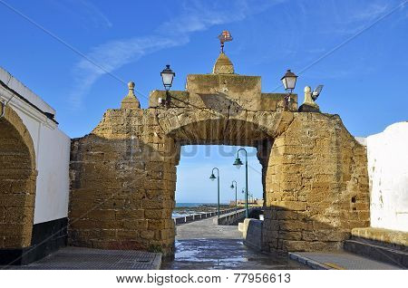 Access of the beach of La Caleta on the province of Cadiz on Spain