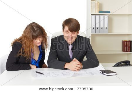 Man And Woman - Engineers, Working In Office