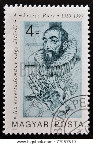 HUNGARY - CIRCA 1987: A stamp printed in Hungary shows portrait of Ambroise Pare