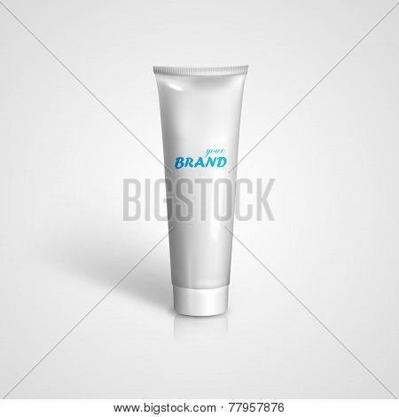 White tube mock-up for cream, tooth paste, gel, sauce, paint or glue. Vector packaging illustration