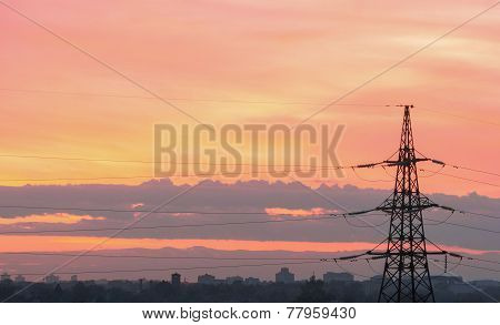 High Voltage Post. high-voltage Tower Sky Background.sunset