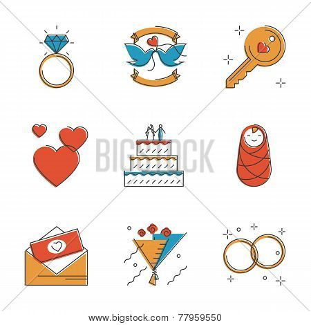 Wedding And Marriage Line Icons Set