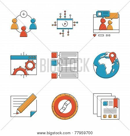 Social Marketing Elements Line Icons Set