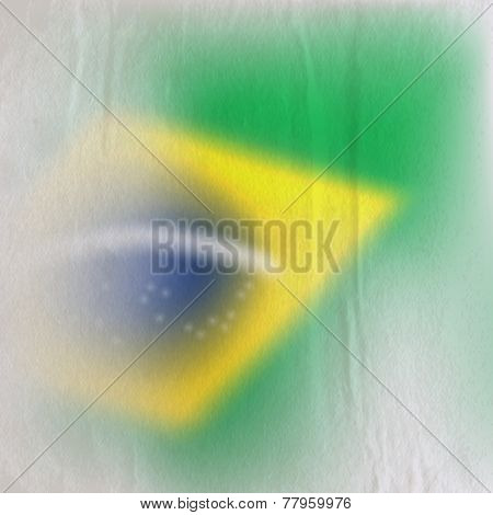 abstract background with old crumpled paper texture and faded Brazilian flag