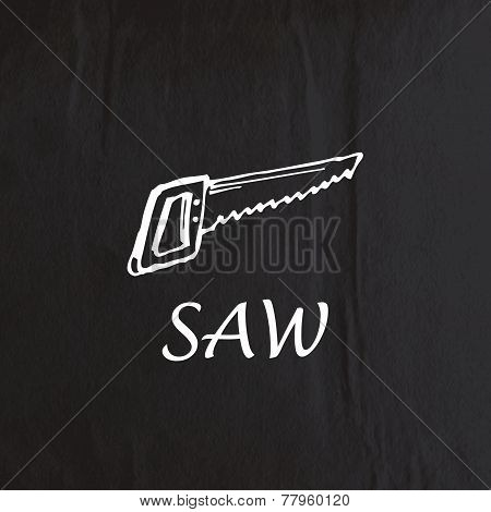 abstract background with old crumpled black paper texture and hand-drawing saw
