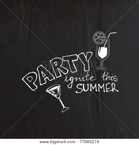 abstract background with old crumpled black paper texture and hand-drawing invitation to the party.