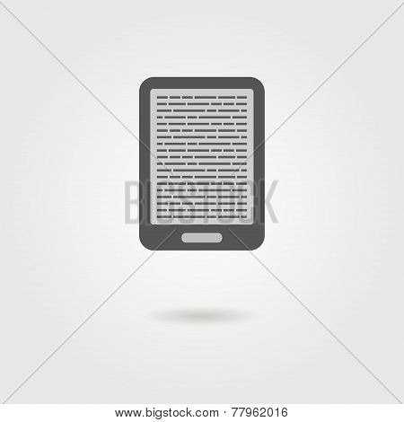 e-book reader icon with shadow