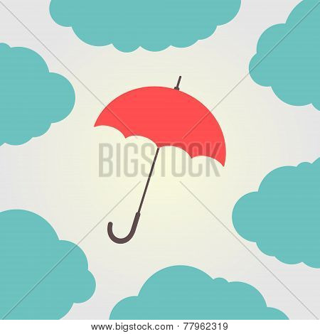 red umbrella surrounded by clouds