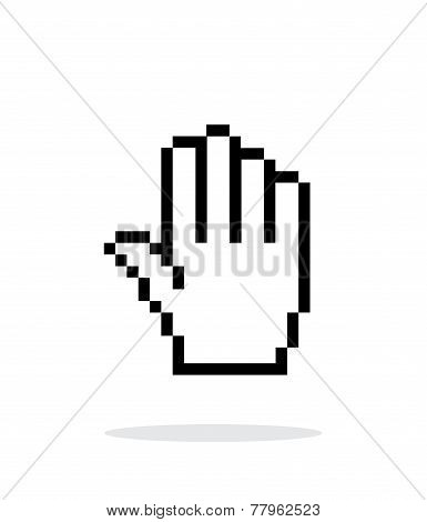 Five fingers. Pixel hand cursor icon on white background.