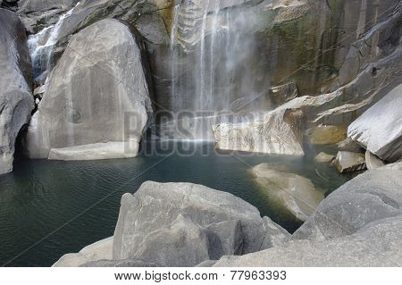Yosemite National Park Waterfall And Lake