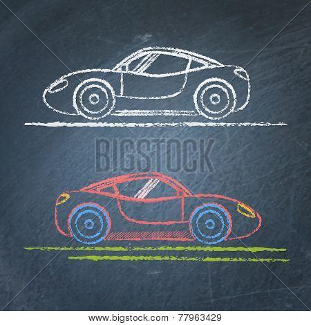 Sports car sketch on chalkboard
