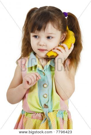 Girl Tries To Speak By Means Of Banana