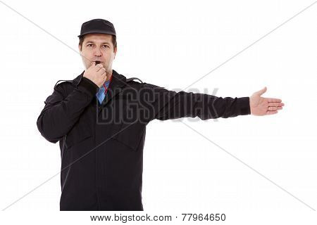 Security Officer Directs Traffic Isolated On White