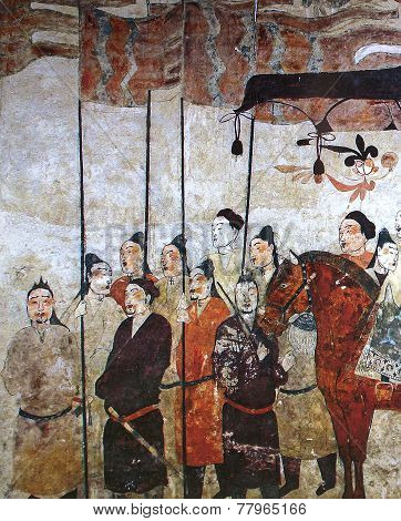 Wangjiafeng Chinese procession fresco in the tomb of Xu Xianju, China, 6th century